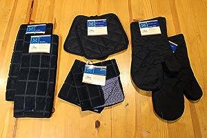 8-Piece Windowpane Jet Black Microfiber Kitchen Linen Set, Towels, Dish Cloths, Pot Holders, Oven Mitts
