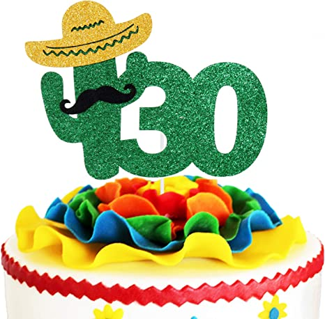 Enjoyable Amazon Com Fiesta 30Th Birthday Cake Topper Green Glitter Birthday Cards Printable Benkemecafe Filternl