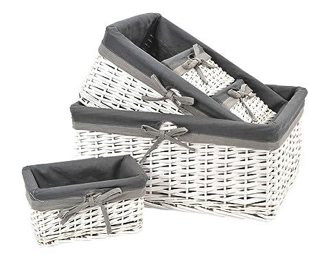 Set of 5 WHITE wicker storage baskets with removable GREY lining  sc 1 st  Amazon UK & Set of 5 WHITE wicker storage baskets with removable GREY lining ...