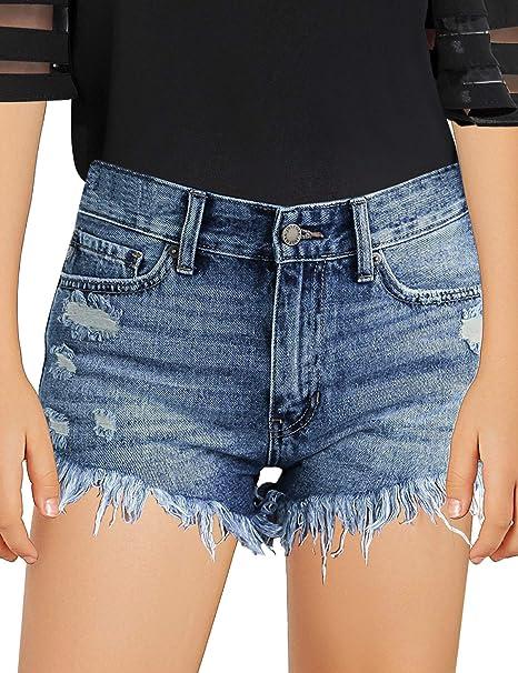 Amazon.com: Luvamia - Pantalones cortos de mezclilla para ...