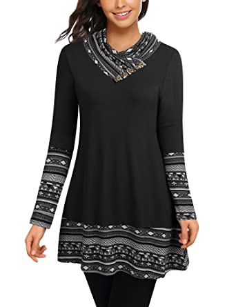 5d32f6fe839d50 Cowl Neck Tunics Long Sleeve Patchwork Form Fitting Casual A-Line ...