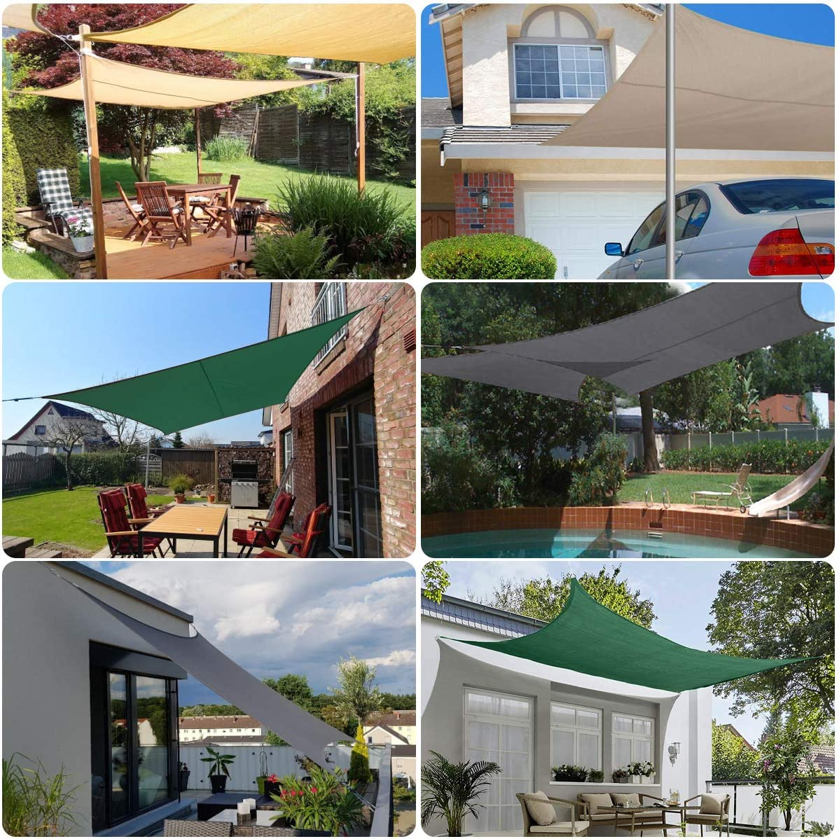 Sekey Toldo Vela de Sombra Rectangular Protección Rayos UV, Resistente Impermeable Transpirable para Patio, Exteriores, Jardín, 3 * 4m Verde, con Cuerda Libre y Kit de Montaje: Amazon.es: Jardín