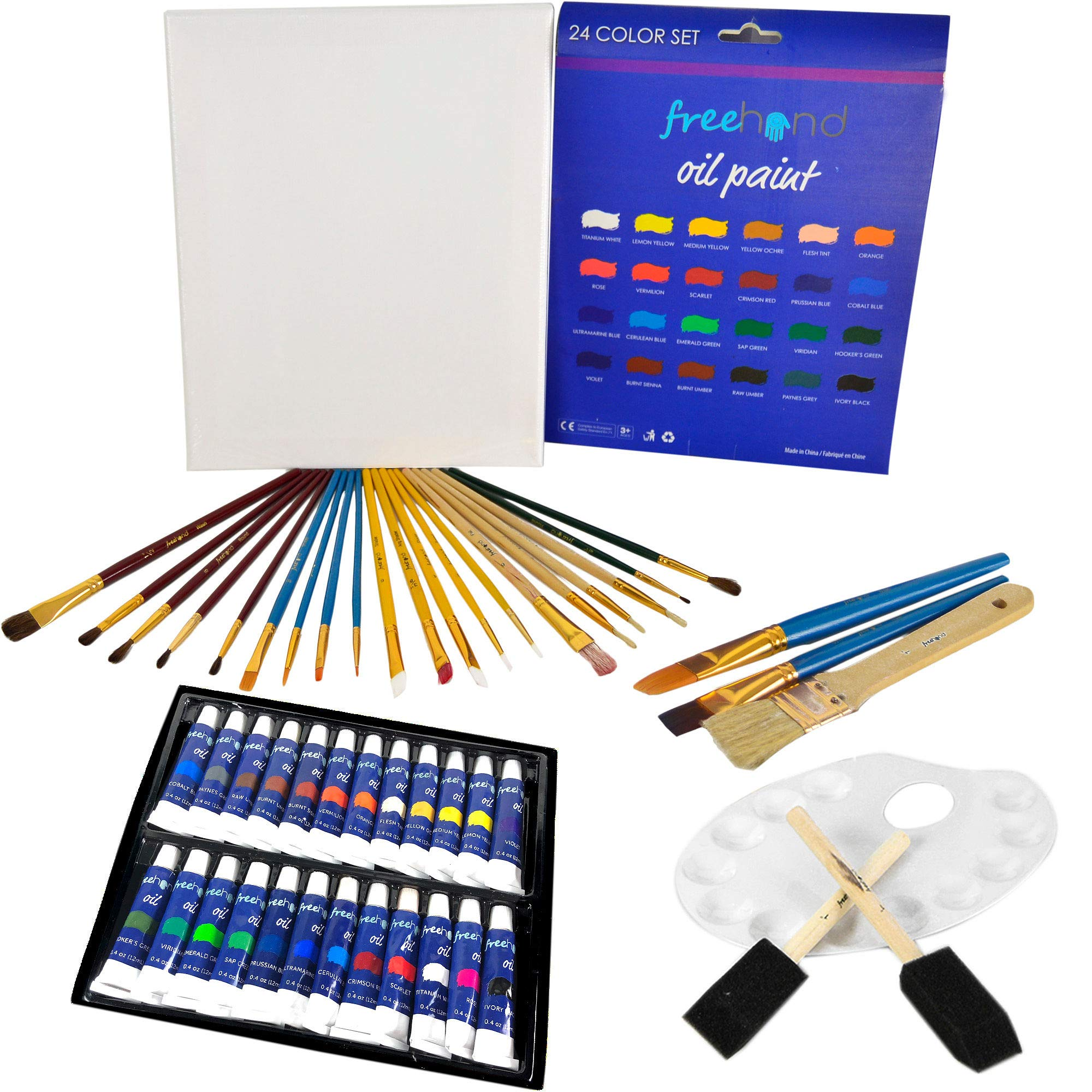 Ultimate Oil Painting Set - 24 Oil Paints - Painting Canvas - Paint Brushes Set - Art Supplies for Teens, Adults & Kids - Deluxe Art Set