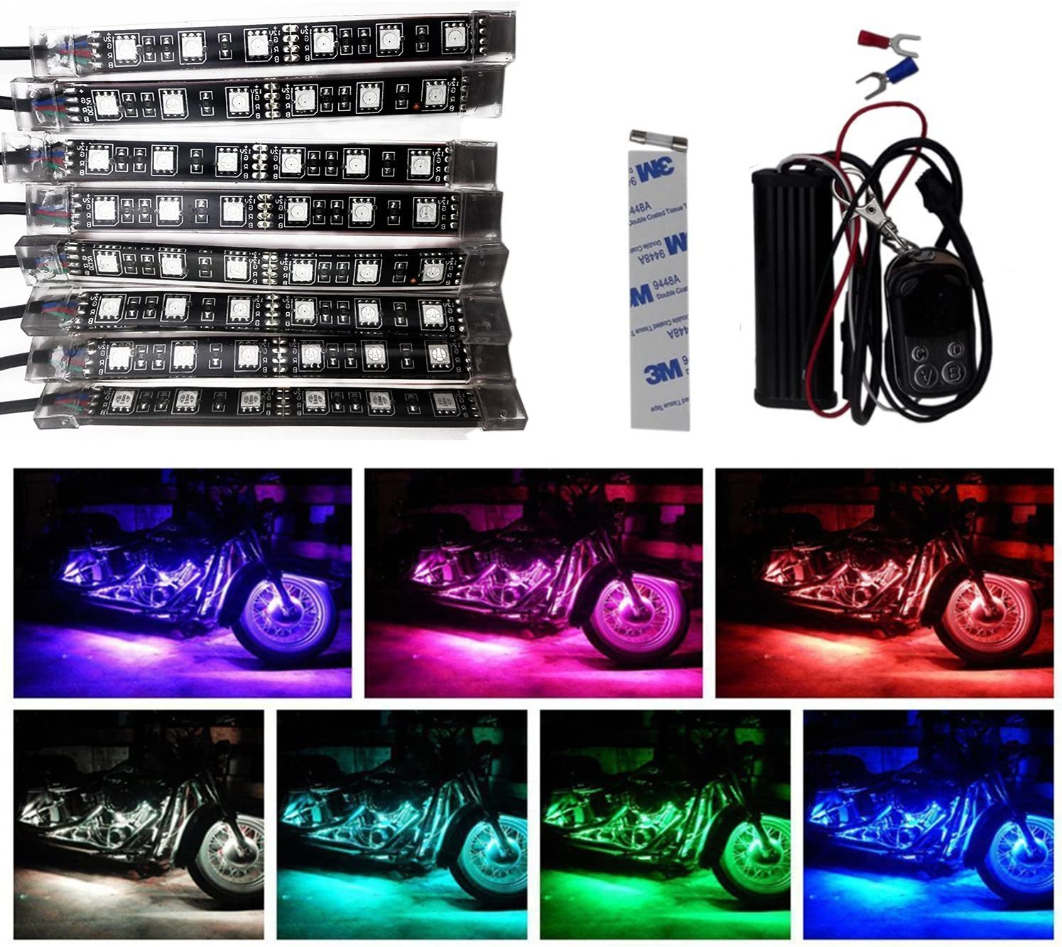 TASWK Motorcycle ATV 8 Strip RGB LED Kit Remote Controller Multi Color Neo Light Glow for Honda Kawasaki Suzuki Ducati Polaris KTM BMW