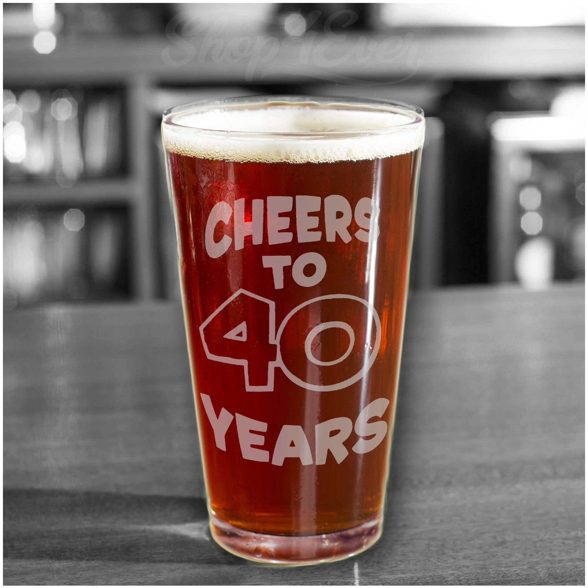 Shop4Ever Cheers To 40 Years Laser Engraved Beer Pint Glass ~ 40th Birthday Gift ~ (Clear, 16 oz.) by Shop4Ever (Image #3)