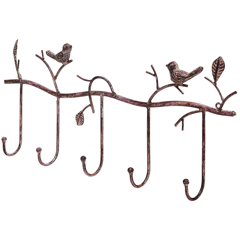 Decorative Rustic Tree Branch & Birds Wall Mounted Metal 5 Coat Hook Clothing/Towel Hanger Storage Rack