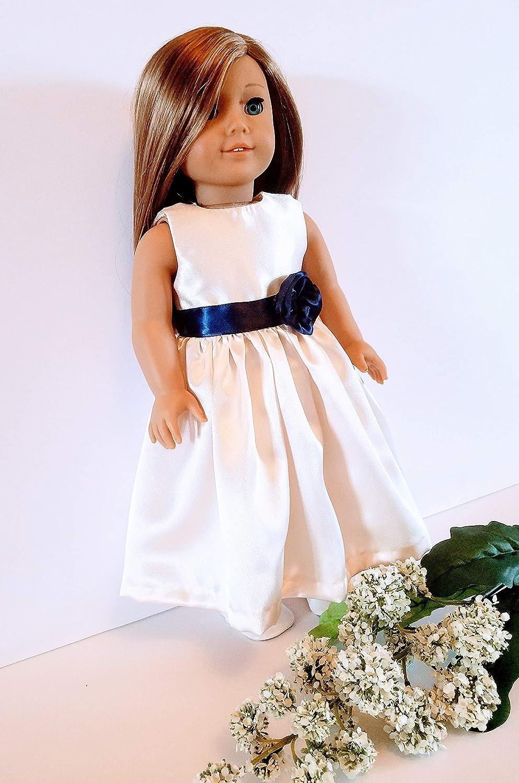 18 Doll Dress Ivory and Navy Satin Handmade Doll Dress fits American Girl dolls