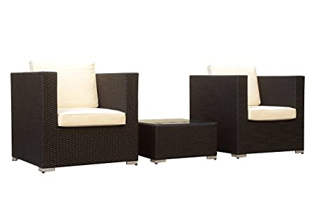 Manhattan Comfort Margate 3 Piece Outdoor Sofa Set   Black/Cream