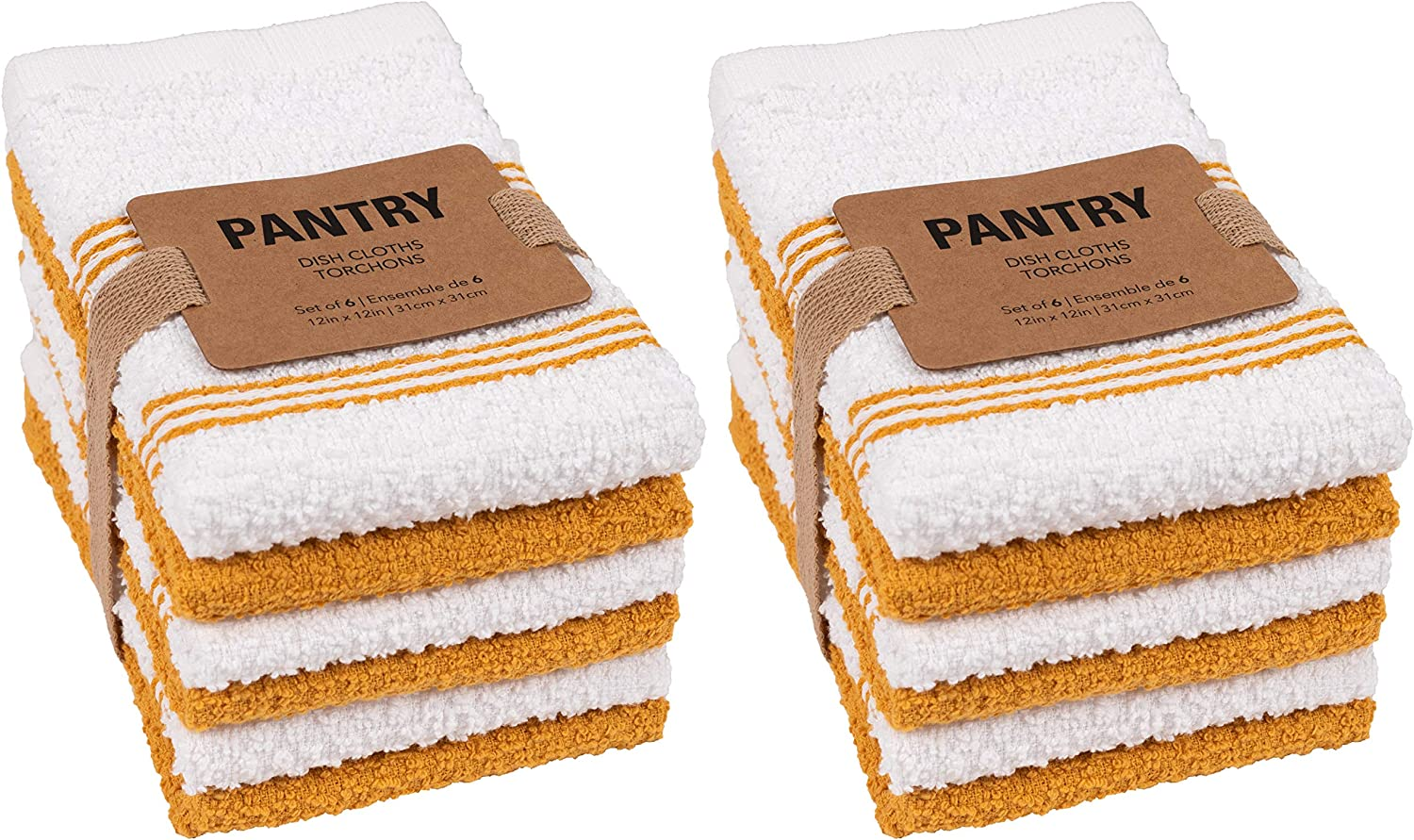 Harvest Ochre Perfect for Spills and Wiping Counter Tops KAF Home Pantry Piedmont Terry Dish Cloths Set of 12 Wash Cloths Absorbent Terry Dish Cloths 12 x 12 inches Bar Mop Rags