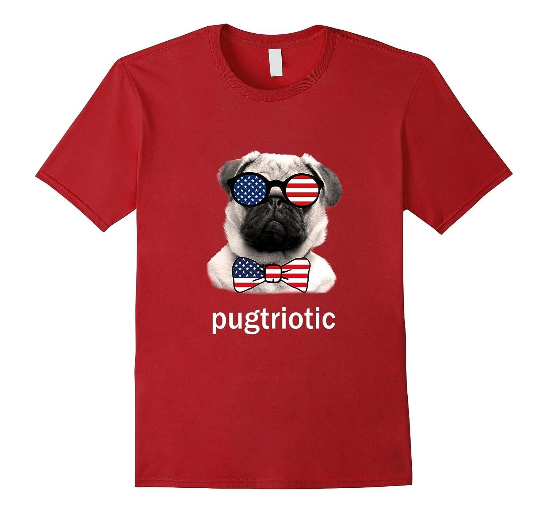 Pugtriotic July 4th American Pug T Shirt Flag Sunglasses