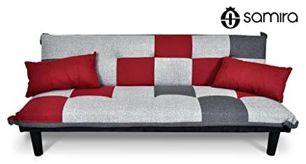 Divano letto clic clac in tessuto grigio scuro - rosso - grigio ...