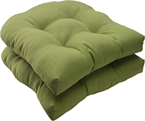 "Pillow Perfect Indoor/Outdoor Forsyth Green Wicker Seat Cushion, Set of 2, 19"","