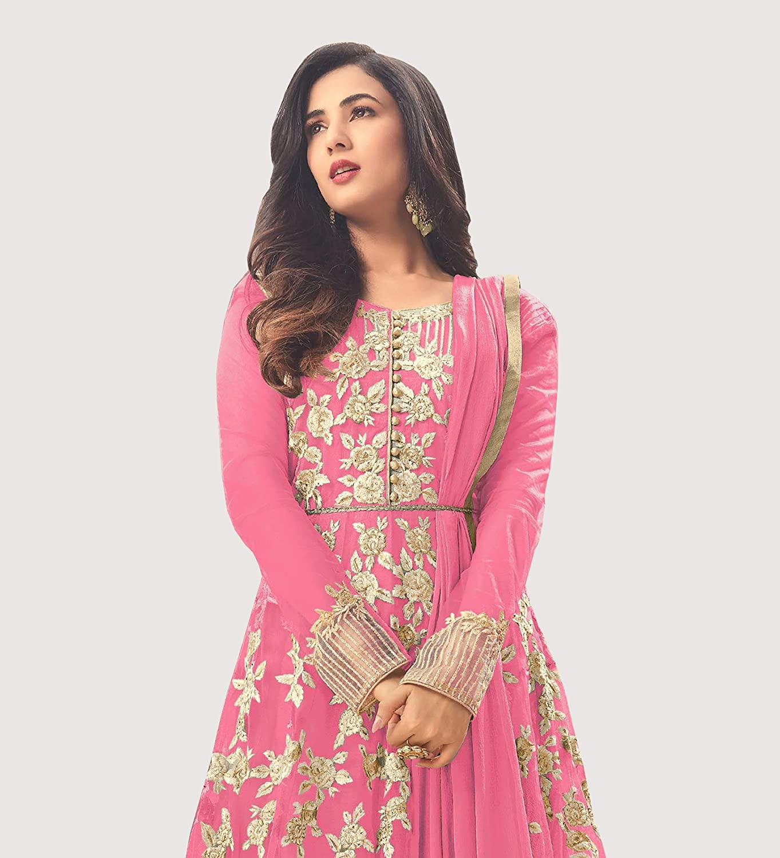 adb588b61f Amazon.com: Pink Soft Net Fabric Heavy Embroidered Designer Long Anarkali  Salwar Suit: Clothing