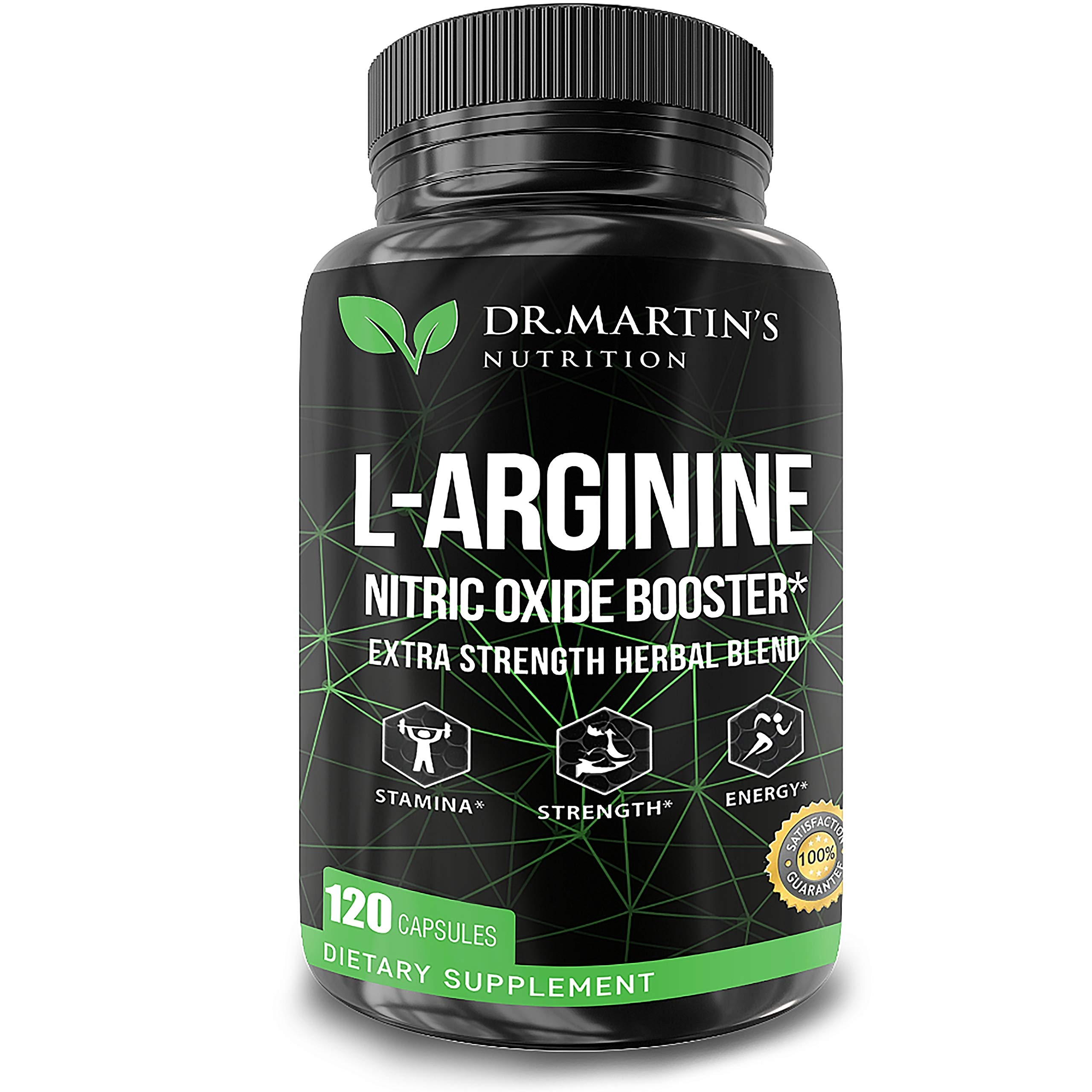 L Arginine Nitric Oxide Supplements | 120 Capsules | Enhances Muscle Growth | Powerful No Booster to Train Harder, Increase Energy & Endurance | Boost Heart Health, Blood Flow, Stamina with Bioperine by DR. MARTIN'S NUTRITION