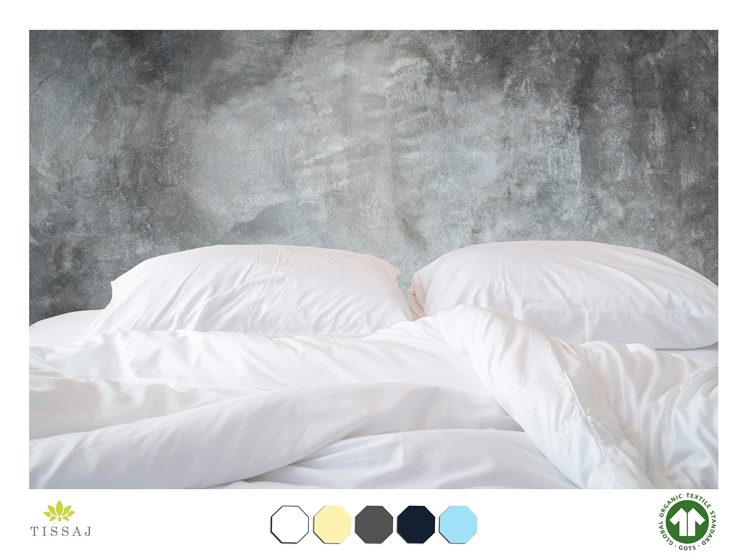 Tissaj 500-Thread-Count Organic Cotton Duvet Cover - 500TC Queen & Full Size Ultra White Color - for Bedding - 100% GOTS Certified Extra Long Staple, Soft Sateen Weave Finish - Luxury Collection by Tissaj