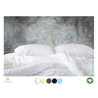 500-Thread-Count Organic Cotton Duvet Cover – 500TC King & California King Size Ultra White Color – For Bedding - 100% GOTS Certified Extra Long Staple, Soft Sateen Weave Finish – Luxury Collection