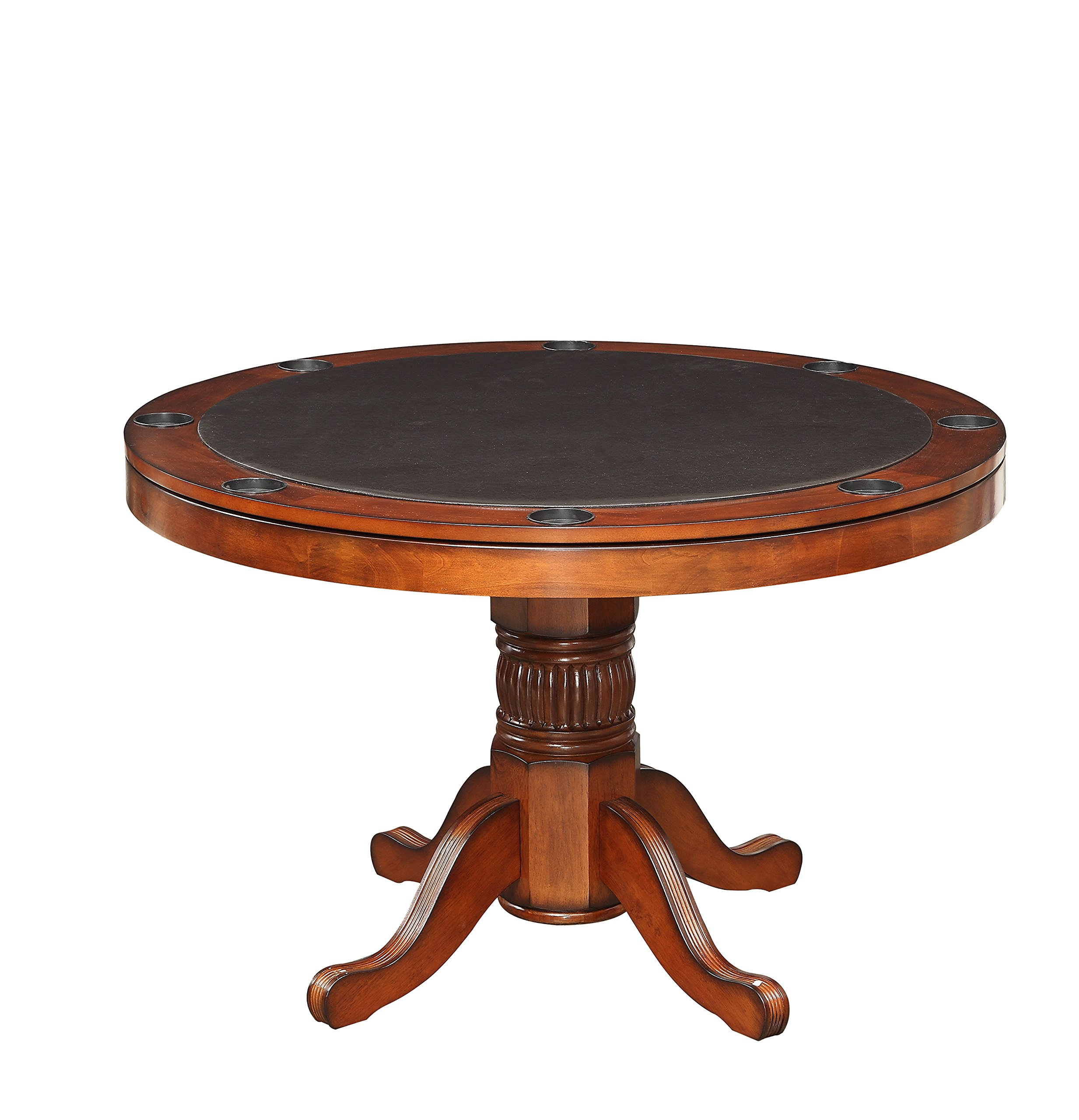 HOMES: Inside + Out Thatcher Contemporary Interchangeable Round Game Table, Chesnut by HOMES: Inside + Out