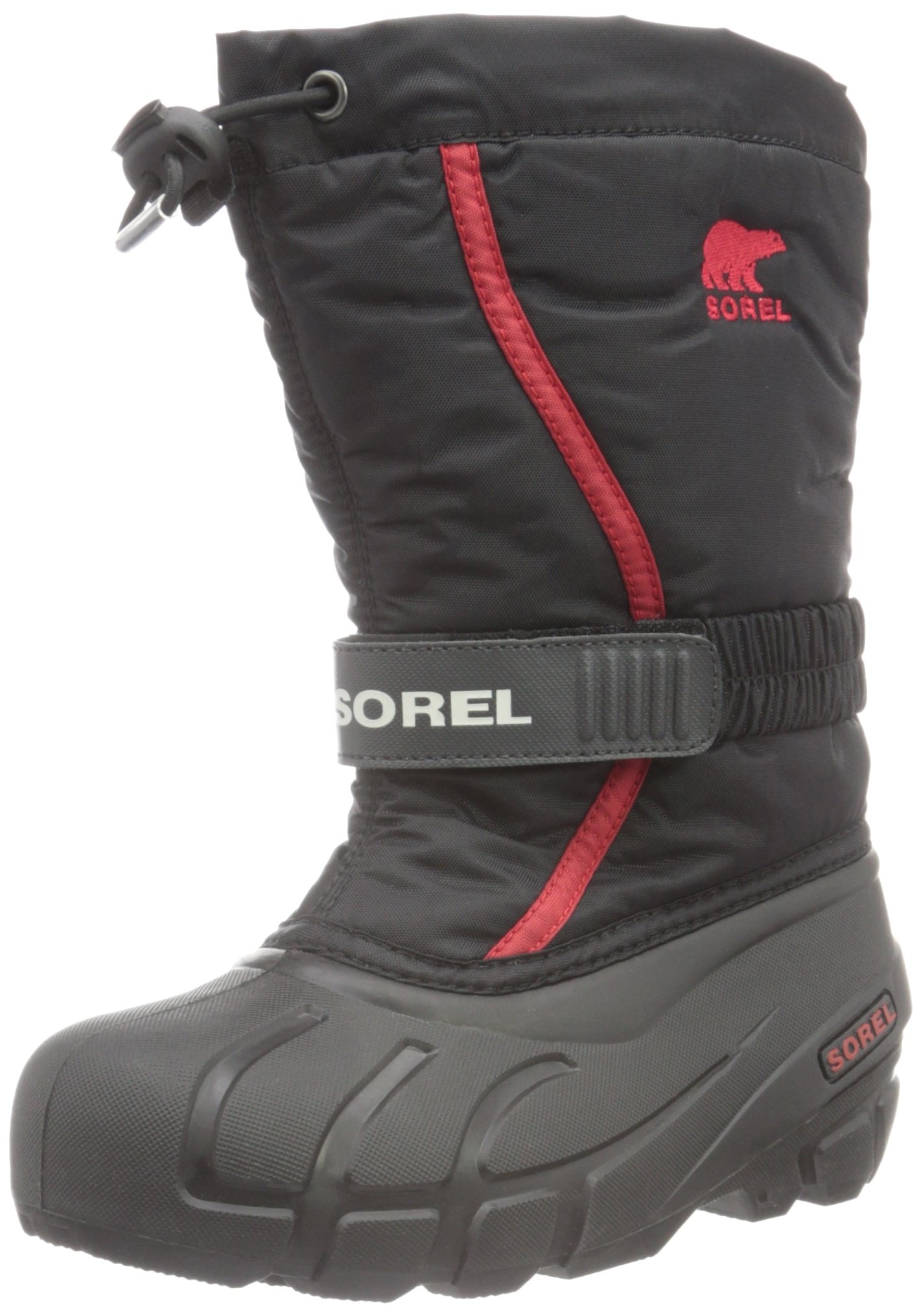 Sorel Youth Flurry-K Snow Boot, Black/Bright Red, 3 M US Little Kid