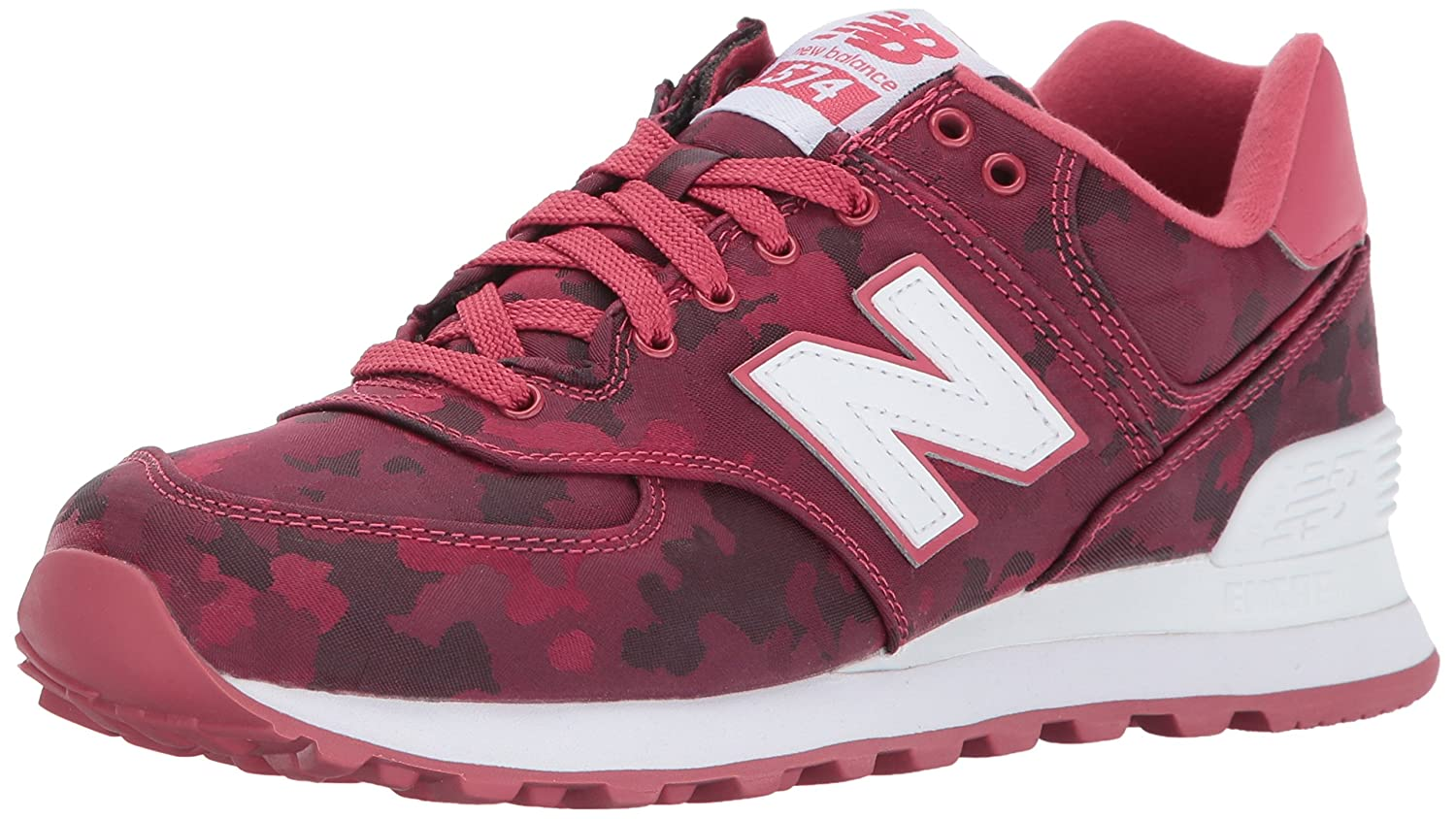 New Balance Women's 574 Camo Pack Lifestyle Fashion Sneaker B01LXCODDA 5 B(M) US|Radish/White