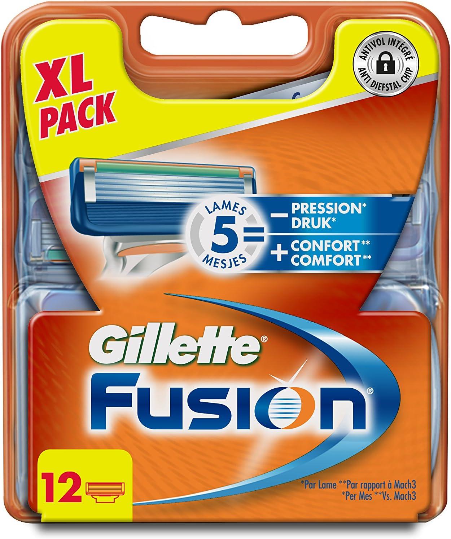 Gillette Fusion - Cuchillas de afeitar, 12 unidades: Amazon.es: Salud y cuidado personal