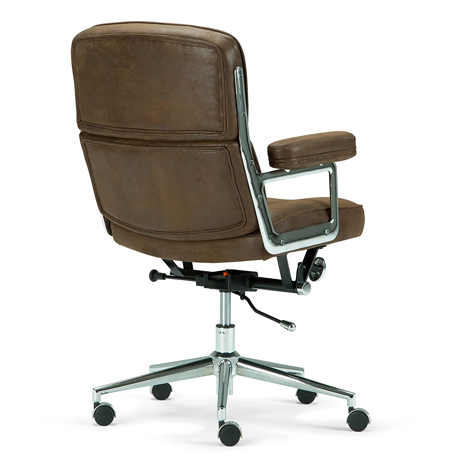 Simpli Home AXCOCHR-03 Barton Swivel Adjustable Executive Computer Office Chair in Chocolate Brown Faux Leather Ltd.