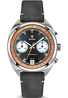 c60fe5fe5 Zodiac Men's Grandrally Stainless Steel Swiss-Quartz Watch with Leather  Strap, Black, 20