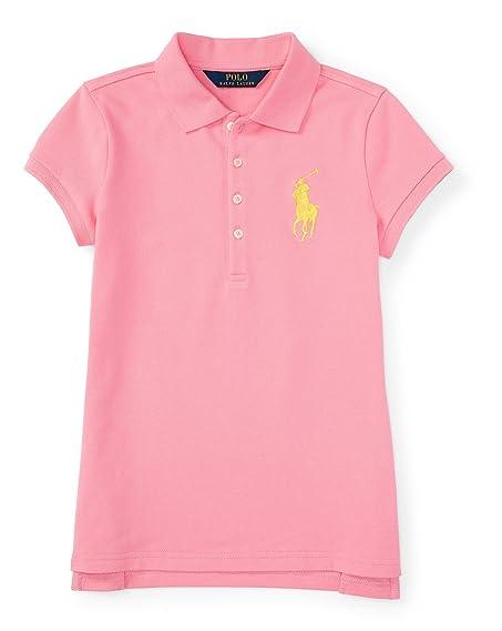 Ralph Lauren Girls Big Pony Stretch Cotton Polo Shirt Pink Size 6