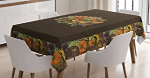 Ambesonne Thanksgiving Tablecloth, Wreath Turkey Pumpkin Fall Tradition Harvest Sunflower Grape Colorful, Rectangular Table Cover for Dining Room Kitchen Decor, 60