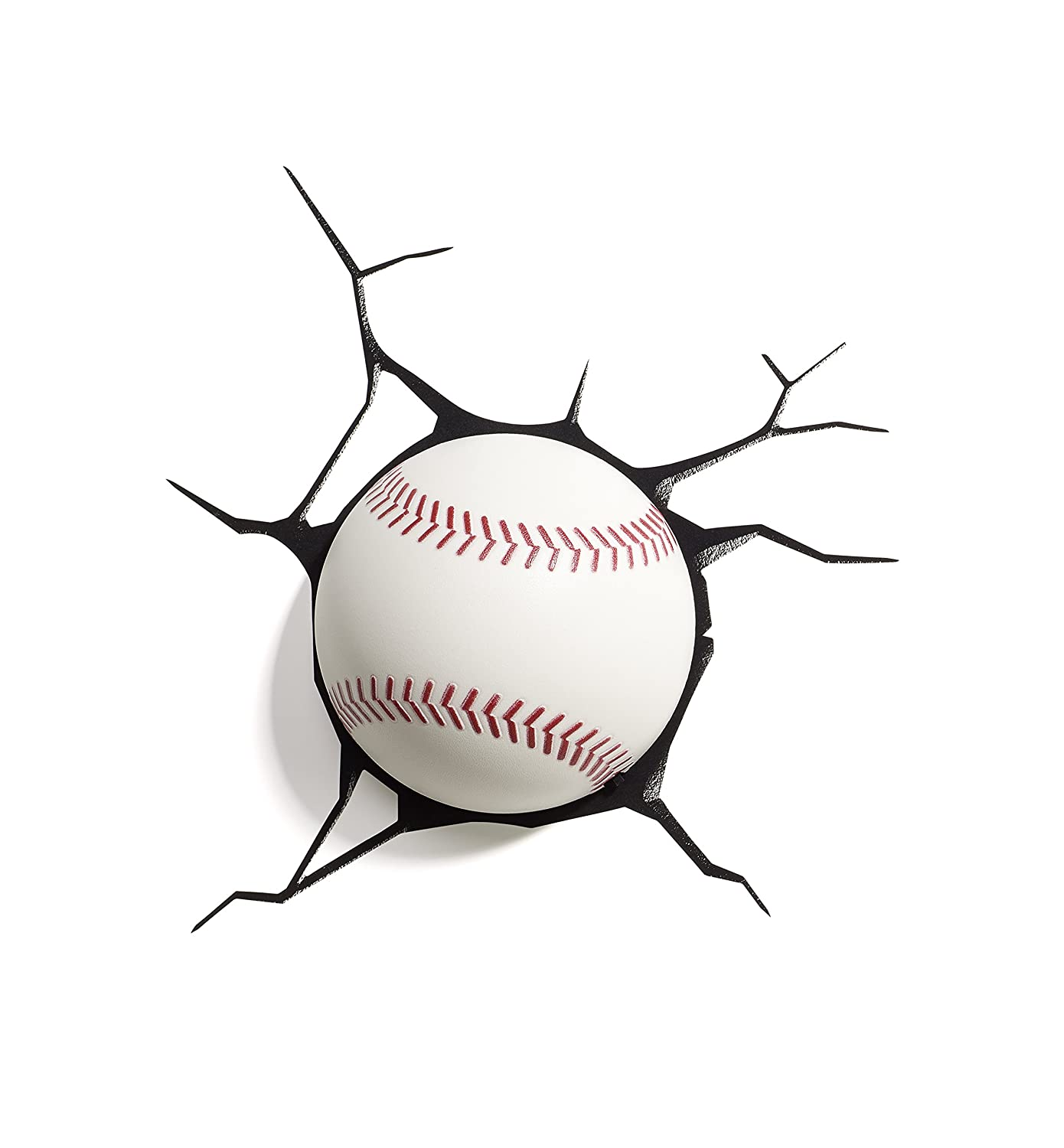 3D Light FX Sports Mini 3D Deco Wall LED Night Light with Crack Wall Sticker, Baseball Panoware