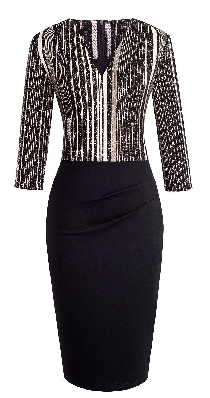 HOMEYEE Elegant Womens V Neck 3//4 Sleeve Striped Dress Wear to Work B418