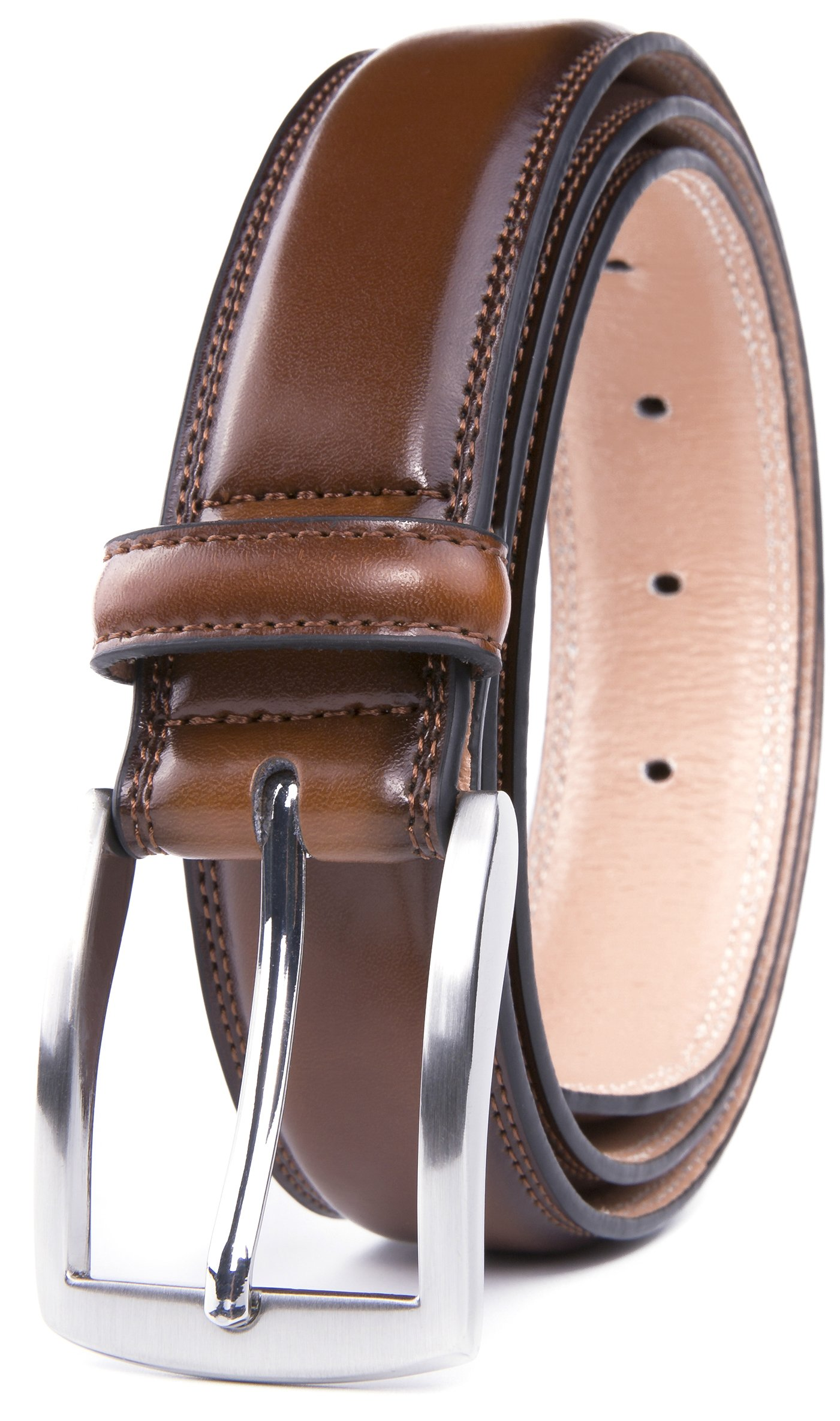 Men's Belt, Classic and Fashion Designs for Work Business and Casual, Regular Big & Tall Sizes Handmade Genuine Leather, Black White Brown Wine Navy Tan (38, Burnt Umber)