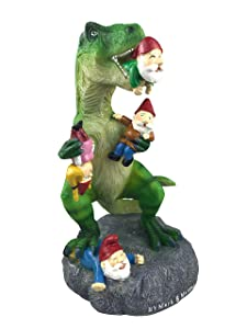 By Mark & Margot Garden Gnome Trex Dinosaur Eating Gnome Statue - Best Art Décor for Indoor Outdoor Home Or Office