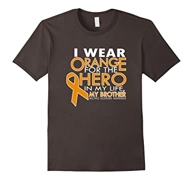 Mens Wear Orange For My Brother Multiple Sclerosis T-Shirt 2XL Asphalt