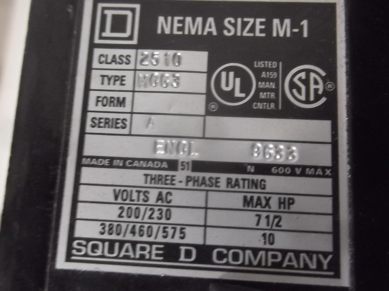 Square D Nema Size M1 Enclosed Starter 2510MCG3 600V 10HP Start Stop USED