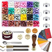 Wax Seal Kit, Wax Sealing Kit with 768 Pieces Sealing Wax Beads, 2 Wax Stamps, 4 Candles, 10 Vintage Envelopes,1 Spoon…