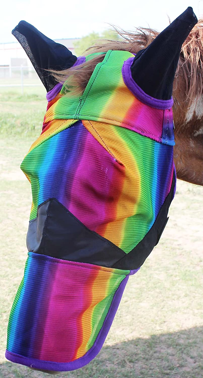 Challenger Horsewear Equine Horse Fly Mask Summer Spring Airflow Mesh UV Mosquitoes 73206N