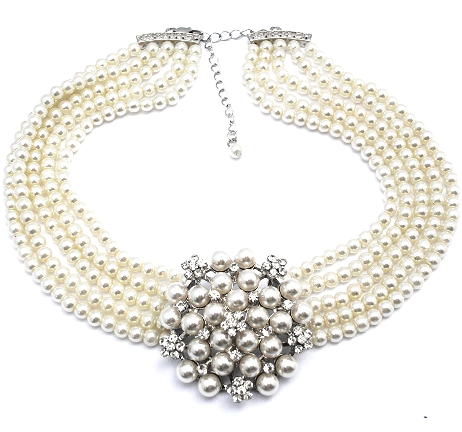 Audrey Hepburn Pearl Necklace Cream with Gift Box r6nqXodeMf