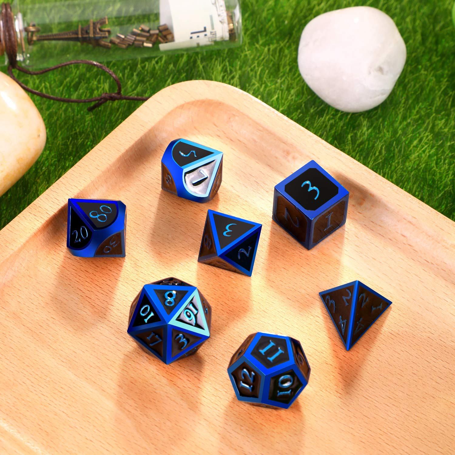 Hestya 7 Pieces Metal Dices Set DND Game Polyhedral Solid Metal D&D Dice Set with Storage Bag and Zinc Alloy with Enamel for Role Playing Game Dungeons and Dragons (Blue Edge Black) by Hestya (Image #2)
