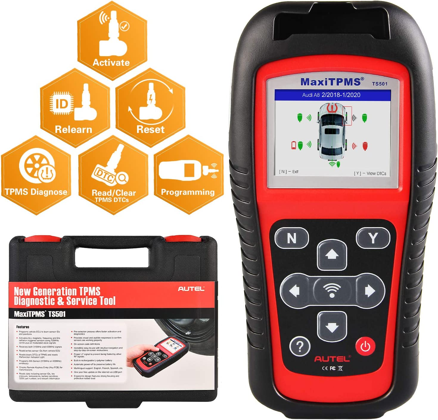 Autel MaxiTPMS TS501 TPMS Scan Tool, Upgraded Version of TS408 TS401, Program MX-Sensor, TPMS Diagnose, Read Clear TPMS DTCs, Sensor Activation, Key Fob Testing, Relearn by OBD Function