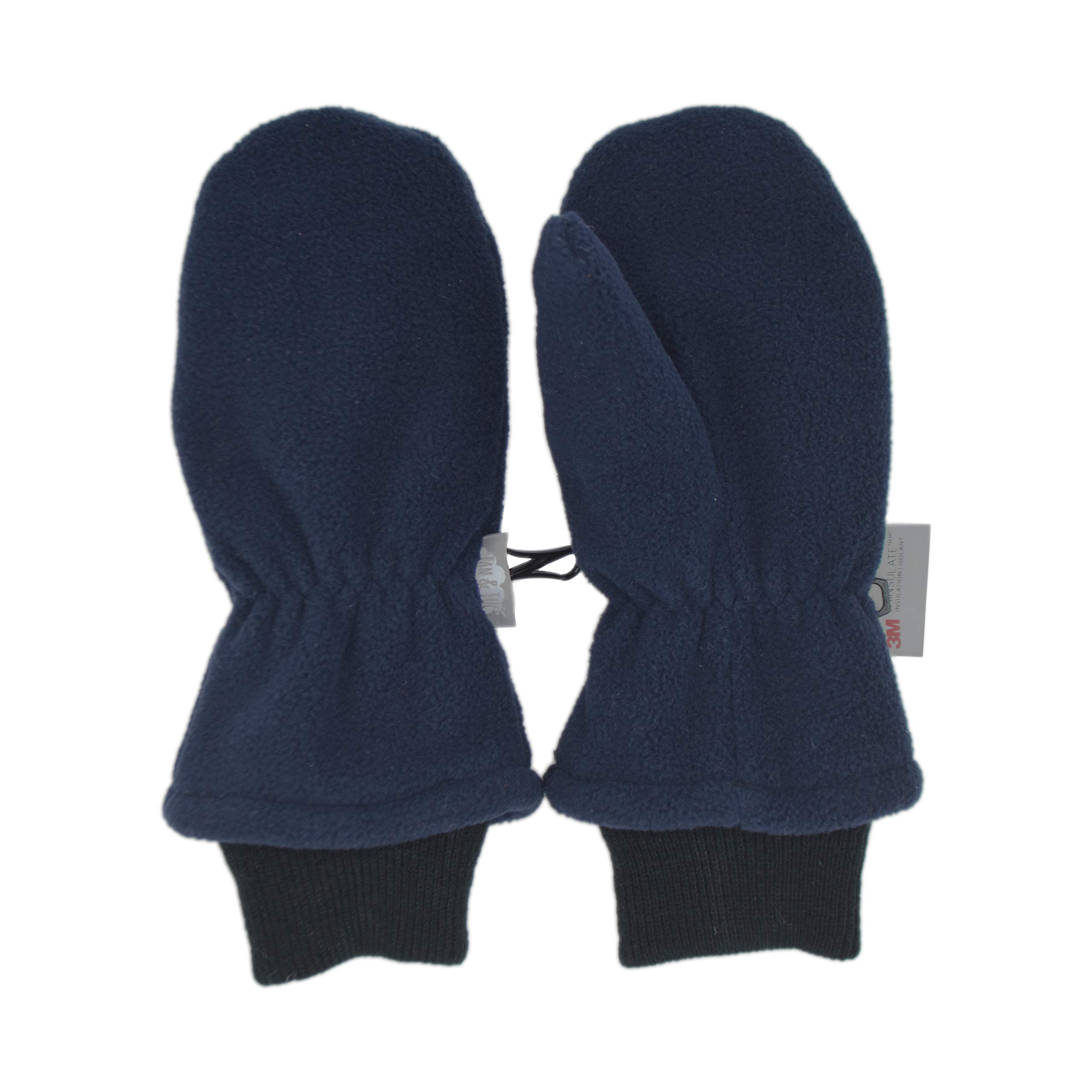 Toddler Boy Easy Thumb Mittens (M, Navy - Ribbed Cuff)