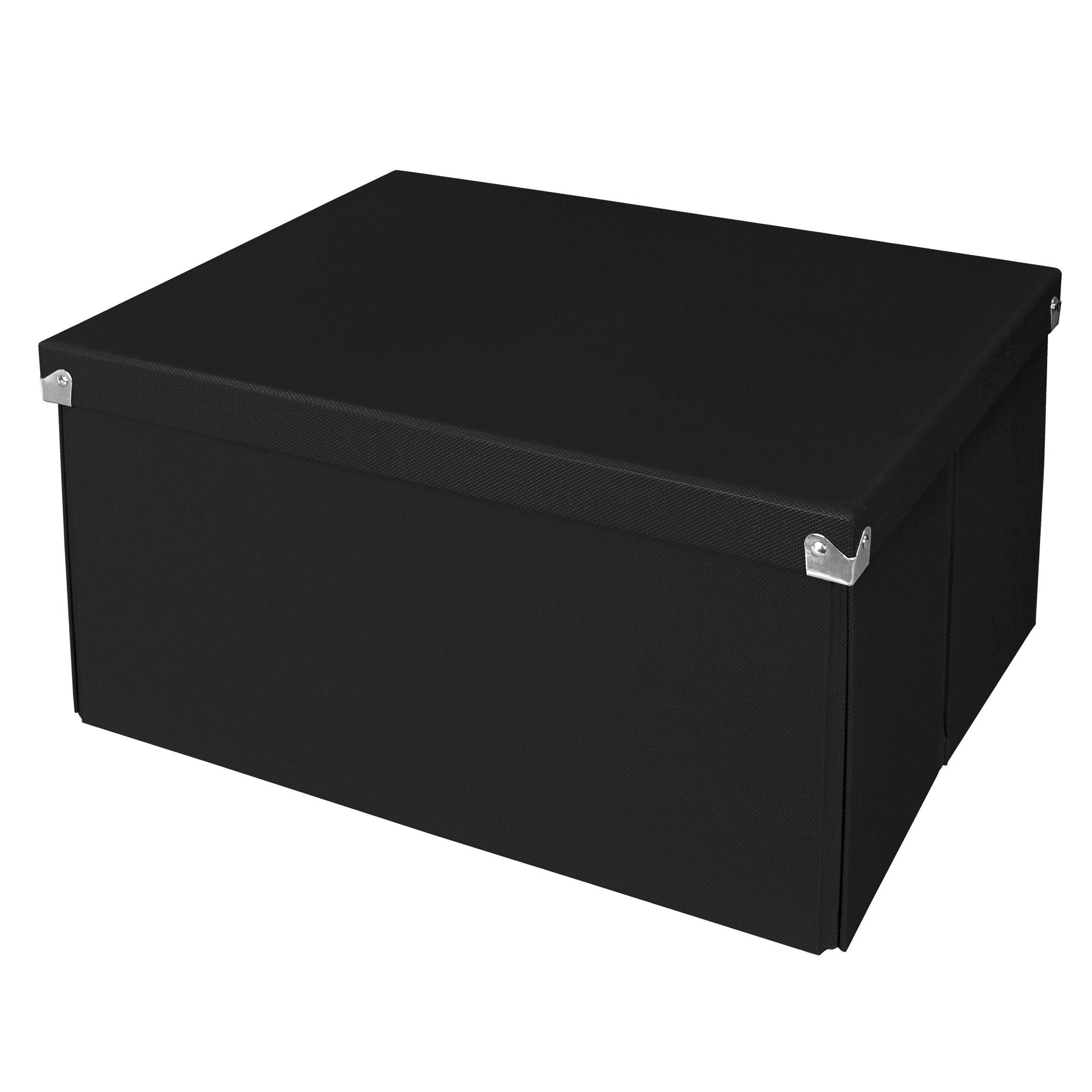 Samsill PNS06LSBK Pop n' Store Decorative Storage Box with Lid - Collapsible and Stackable - Large Mega Box - Black - Interior Size (14.625''x11.875''x8'')