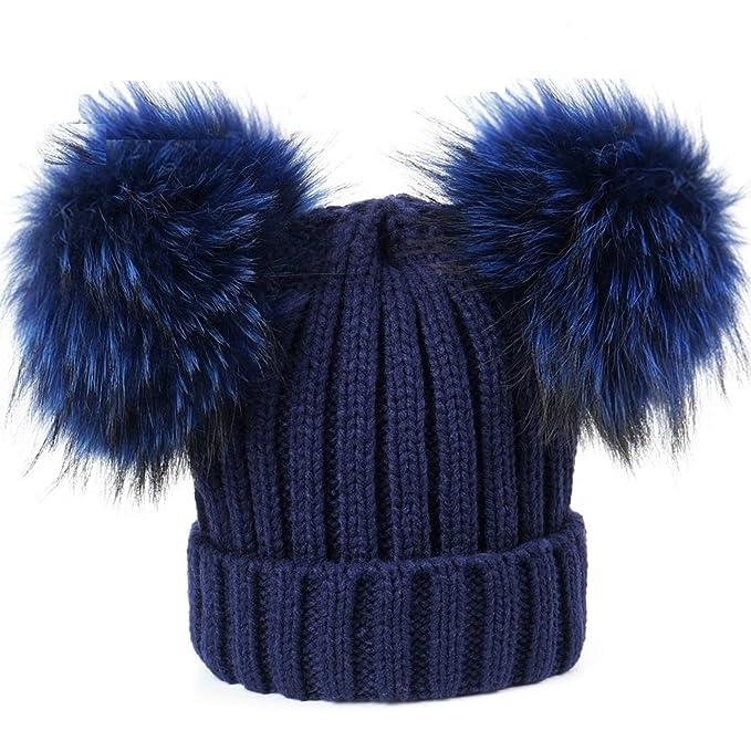 BrillaBenny Cappello Blu Navy Doppio PON PON Vera Pelliccia MURMASKY Cuffia  Topolino (x Ragazza 85c093235054