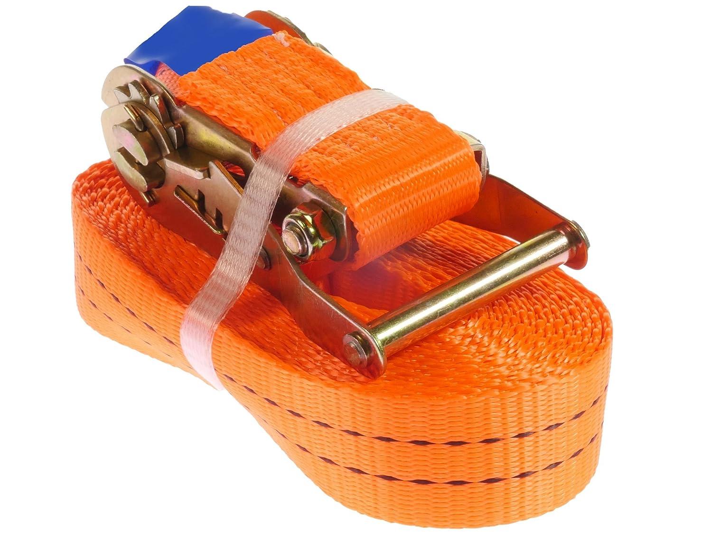 colore arancione con gancio a cricchetto in un unico pezzo lunga 6 m 2.000 daN 2 pezzi Cinghia a cricchetto 2000 kg larga 35 mm