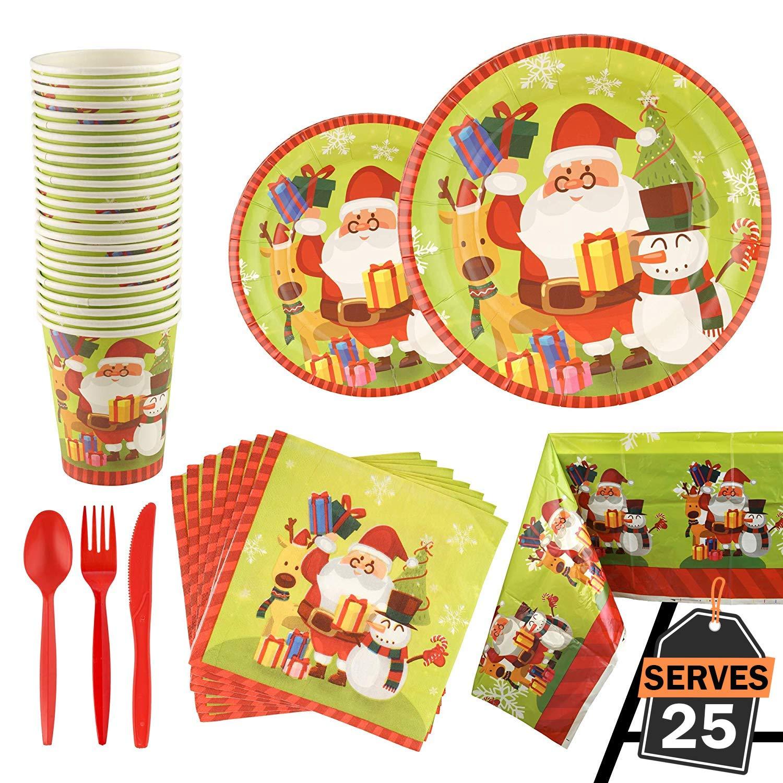 cuill/ères et fourchettes Nappe y Compris Assiettes Tasses Kompanion Lot de 176 pi/èces de f/ête No/ël Serviettes de Table Couteaux
