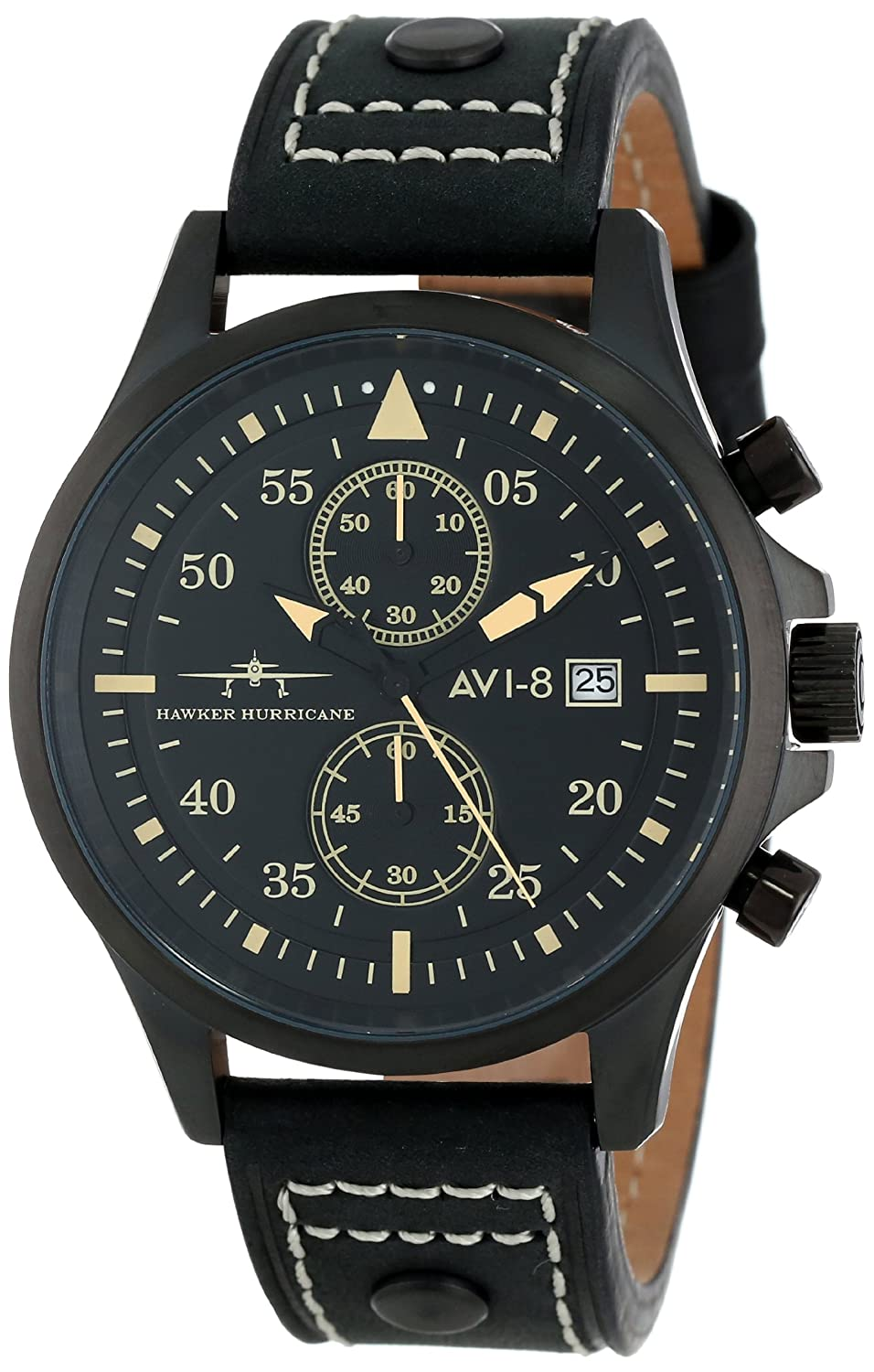 Amazon.com: AVI-8 Mens AV-4013-04 Hawker Hurricane Analog Japanese-Quartz Black Watch: Watches