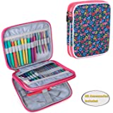 Teamoy Organizer Case for Interchangeable Circular Knitting Needles, Crochet Hooks and Knitting Accessories, Keep All in One Place and Easy to Carry, Flowers Blue (No Accessories Included)