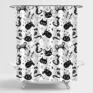 """MitoVilla Witch's Cat Shower Curtain Set with Hooks for Bathroom Decor, Cat and Sugar Skull Mexican Style Bathroom Accessories, Cat Themed for Women, Men and Kids, 72"""" W x 72"""" L"""