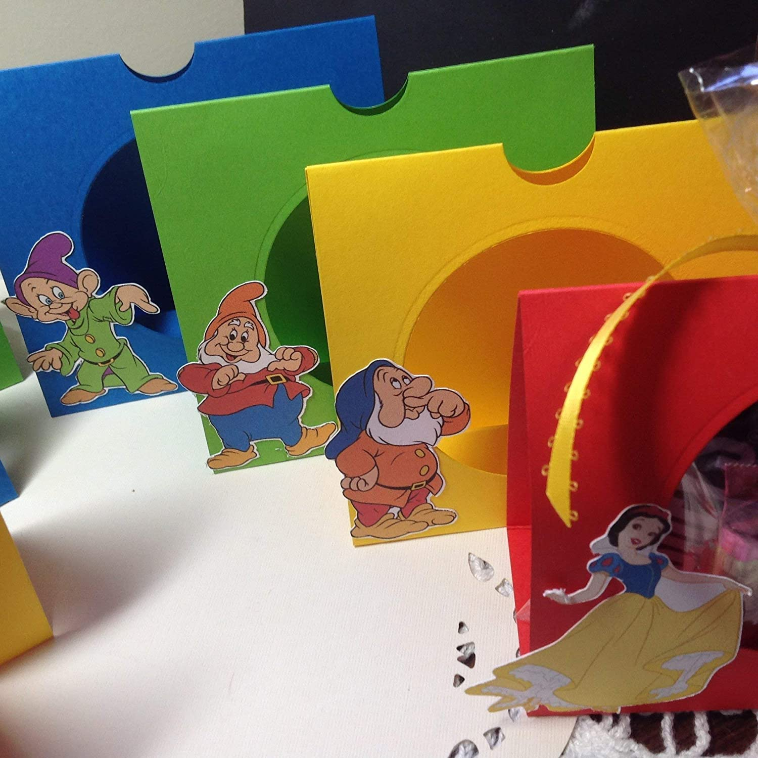 8 Dwarfs and Snow White Treat Bag Candy Party Favors includes ribbon and clear bags