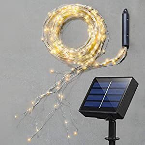 Soltuus Solar Powered 180 LEDs String Fairy Lights, Multi Strand Watering Can Light Outdoor, Waterproof Waterfall Fairy Lights, Warm White Firefly Bunch Lights