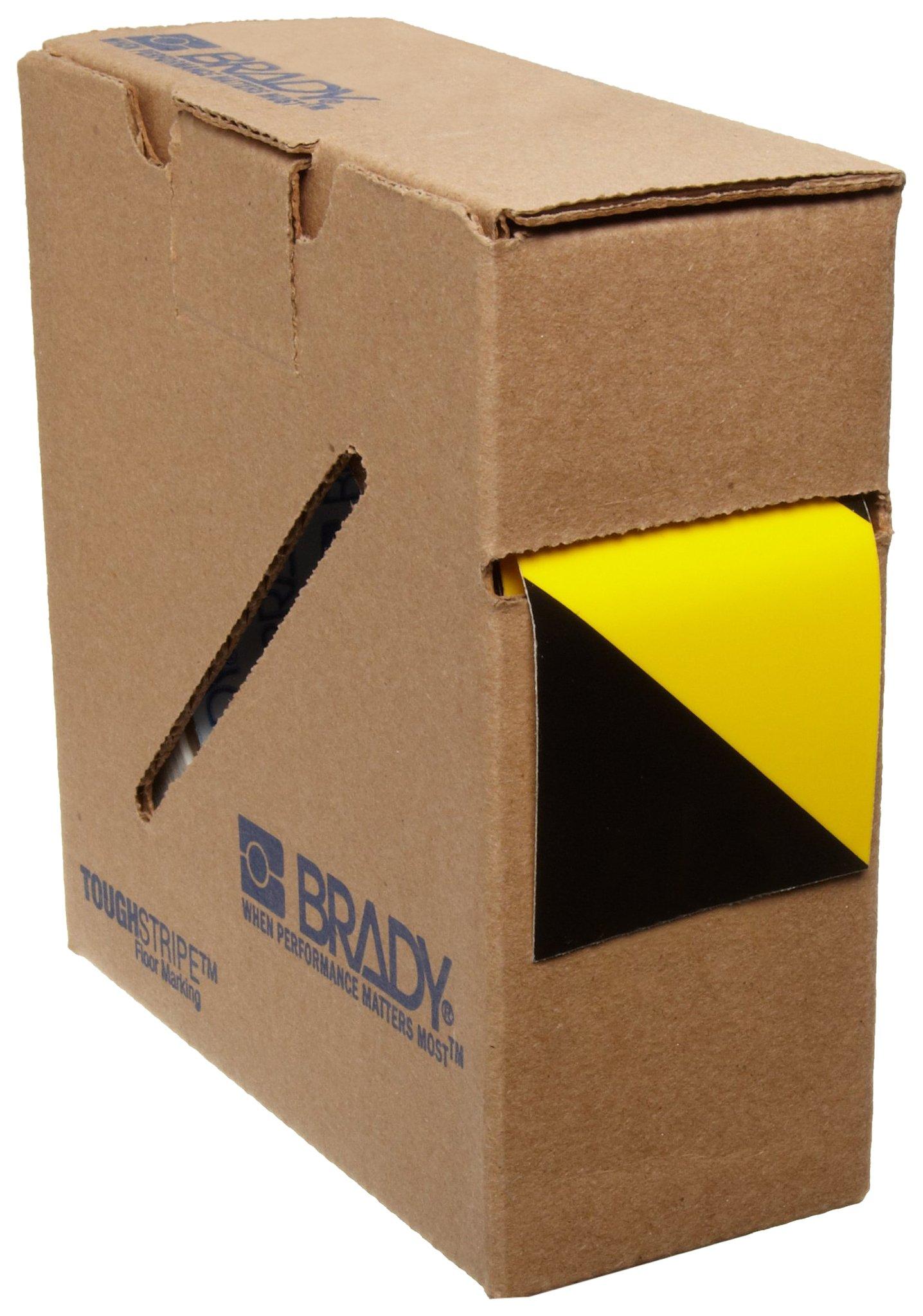 Brady ToughStripe Floor Marking Tape - Yellow and Black, Non-Abrasive Tape - 2'' Width, 100' Length by Brady